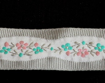 Woven Ribbon braid silver backed pink and turquoise flowers