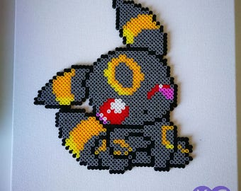 Pokemon inspired, Umbreon, Umbreon bead art, Bead art, perlers, hama beads, Pokemon Umbreon inspired, Mounted bead art, canvas wall hanging