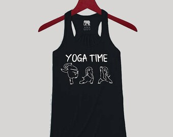 Yoga Shirt, Yoga Tank, Fitness Tank, Workout Tank, Custom Tank, Yoga Time Text with Dancing Elephants, Black Flowy Racerback Tank