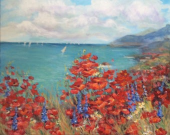 "Meditarranean Poppies Painting Original Oil Floral Painting 24 x 30"""