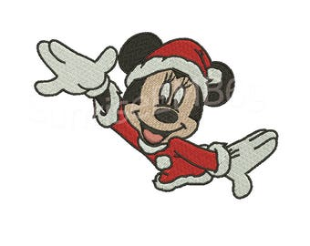 6 Sizes**Minnie Mouse Christmas Embroidery design- 8 formats machine embroidery design - Instant Download machine embroidery pattern