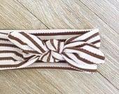 Skinny Brown Striped Headband