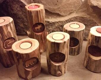 Engraved Cedar Candleholders