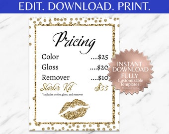 Gold|Glitter|White|Editable|LipSense Price List|LipSense Pricing|SeneGence Pricing|LipSense Printable|LipSense Marketing|Party|Cards