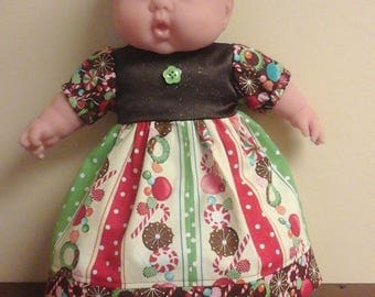 """1ofakinddollclothes  Christmas 2017   Cabbagepatch, Bitty Baby, and Walmart My Love 15-16"""" baby. Candy cane print dress and pantaloons."""