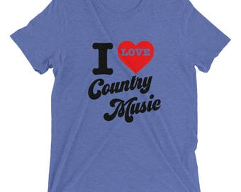 I Love Country Music! Vintage inspired, 70's inspired design on a soft Bella CanvasTri blend t shirt. Nashville, Tennessee. Music City. Love