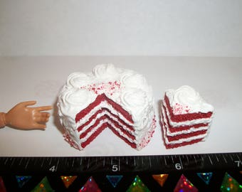 1:6 Play Scale Dollhouse Miniature Handcrafted Christmas 4 Layer Red Velvet Dessert Cake Doll Food - reference Barbie hand for size