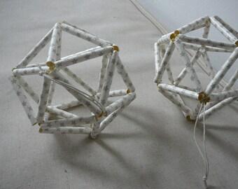 Mobile decor white silver stars