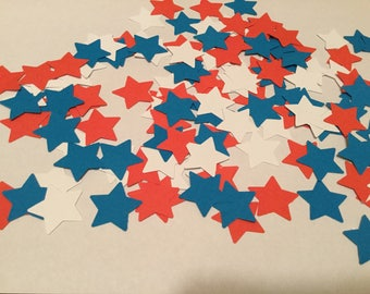 Patriotic red white and blue star confetti ( 15/16 in )