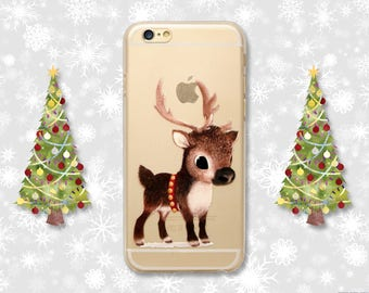 Christmas Reindeer Rudolph Xmas Festive Rudolf Transparent Clear Hard Soft Gel Rubber TPU Phone Case Cover iPhone 5 5S 5C SE 6 6S 7 Plus