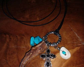 Whitetail deer antler necklace