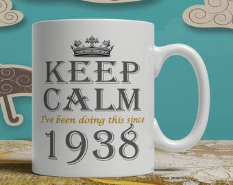 Keep Calm 80th Birthday mug, 80th birthday idea, born 1938 birthday, 80th birthday gift, 80 years old, Happy Birthday, EB 1938 Keep