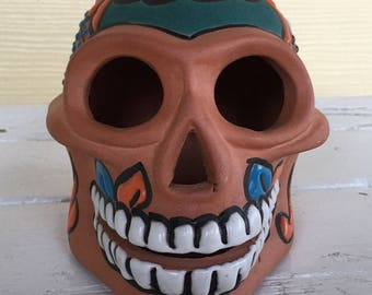 Sugar Skull / Day of the Dead / Dia de Muertos /  Painted Clay Sugar Skull / Mexican Sugar Skull