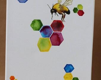 Bumble Bee Watercolour Wall Art