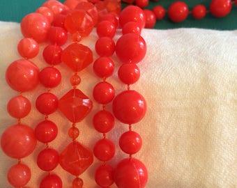 Tangerine Dream Orange Plastic Beaded Five Strand Choker/Necklace