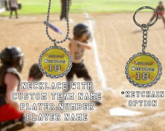Children's Softball Team Bottle Cap Necklace or Key chain Souvenir jewelry. Customize for your child's sports team.