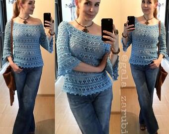 "Crochet blouse (woman top) pattern summer lace tee PDF tutorial instant download free silhouette one-shoulder handmade garment ""Vassilissa"""