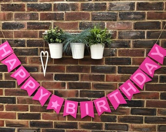 Happy birthday party banner Flag style. 1st birthday party Pink on pink girls. Cake smash Birthday party daughter. Party decoration bunting