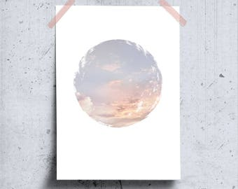 Minimalist Pastel Circle Photo Print, Nordic Art Design, Relaxation Wall Art, Minimalist Sky Art Pastel Photo, Boho Photography Printable