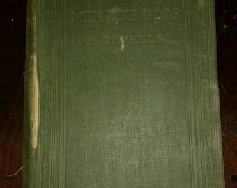 First edition. Antique book by famed sci-fi writer H. G. Wells, 1923, antique book, Men Like Gods. Science fiction.