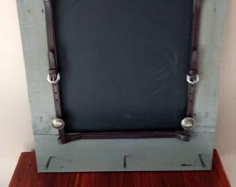 Rustic western message board chalkboard coat rack key hanger