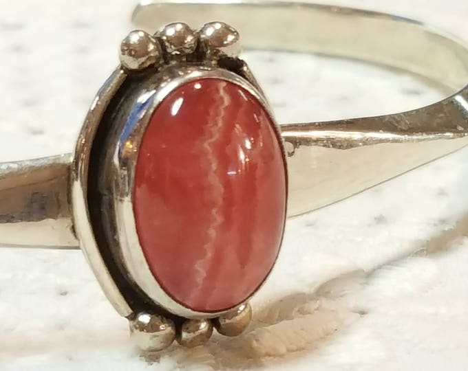 DTR Jay King Mine Finds Rhodochrosite Solid Sterling Silver Cuff Bangle Inca Rose Cabochon