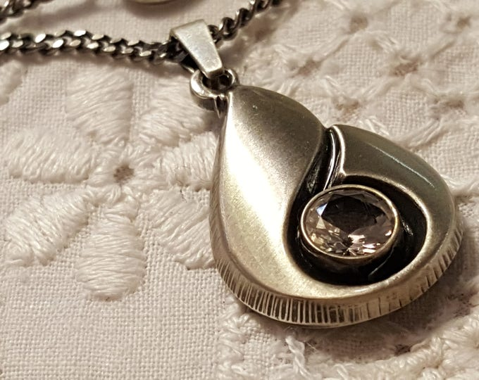 Finnfeelings Vintage 1980s Sterling Silver Rock Crystal Pendant and Chain Necklace Finland