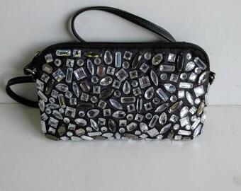 Crystal Stone Satin Cross-body Bag