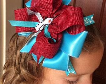 Olaf bow/ frozen bow/ blue and maroon bow/ girls bow/ girls hair bow/ girls frozen hair bow/ girls haur acessory/ girls boutique bow