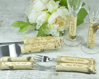 Cowboy Wedding Cake Server and Knife & Champagne Flute Set, Personalized Set for Rustic Wedding