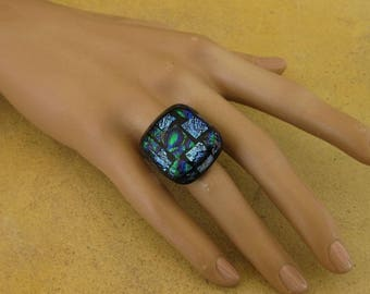 Patchwork of Dichroic Glass with metallic highlights, and black fused glass ring adjustable