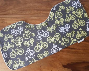 Grey, Citrus and White Bicycle Print Baby Burp Cloth