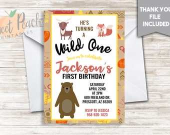 Wild One Animal Birthday Invite 5x7 Digital Personalized Bear Fox Deer 1st Birthday First Birthday Invitation Wild Animal #193.0