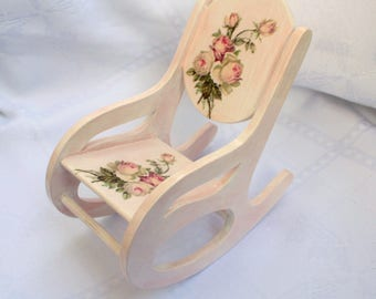Rocking chair for doll, scale 1:6, wooden furniture, dollhouse furniture, wooden chair for Barbie, Doll furniture