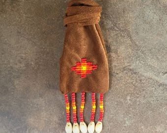 medicine bag,Native American Art,100% Authentic,Beaded Deerskin Leather ,Handmade,Hand-beaded,Cheyenne Beaded Medicine Bag