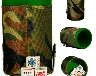 Military Camouflage Cubilete Poker Dice Shaker Cup Game Party Gift ManCave Father Dad Husband Man Men Christmas Birthday Gift Poker Stars