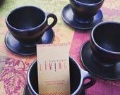 ON SALE Clay Cookware Set of 4 Black Coffee Cups with Holders / Dinning / Serving set / Coffee Sets