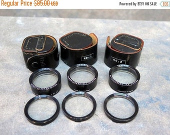 Rollei Rolleiflex +1, +2,& +3 Close-Up Lens Sets By Vivitar For f2.8 Bay 2 In Leather Cases