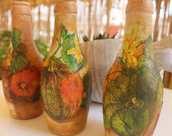 decoupage set of bottles 0018