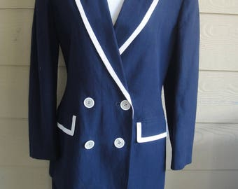 Vintage The Limited 2 Piece Navy Blue/White Trim Double Breasted Linen Blend Skirt Suit Size 8-10