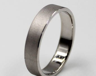 4mm Silver Flat Comfort Fit Wedding Ring with  Satin Finish, wedding band
