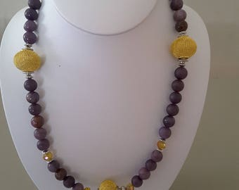 Purple Jasper and Gold necklace and earring set