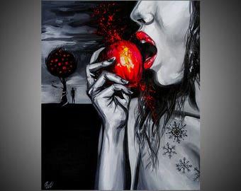 Snow white fine art painting, Snow white art, Snow white painting, Snow white apple, Black and white art, Black and white painting