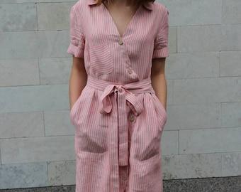 Striped linen dress, wrap linen dress, made to order