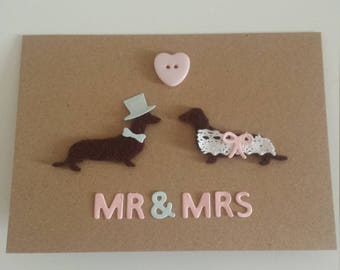 dachshund wedding card // wedding card // newlyweds card // dachshund card // sausage dog card // just married card // dachshund couple