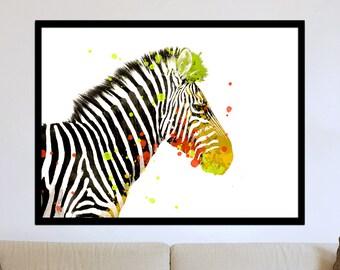 Zebra Watercolor Pop Art Fine Art Print.