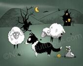 Gothic Border Collie Herding Sheep Matted Print