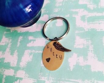 Pet Memorial Keychain, Pet Memorial jewelry, Personalized keychain, Cat Jewelry, Monogrammed Keychain, RIP keychain, Cats, Rainbow Bridge