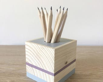 Skandi pen holder, reclaimed wood, desk organiser, hygge home, rustic home, woodland theme, desk accessory, office decor