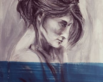 Lady in blue-charcoal and acrylic painting-43 x 53 cm-Modern portrait-Free Shipping Worldwide